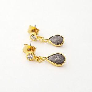Black cubic zircon gold plated danity earrings